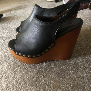 Jeffrey Campbell Black and Tan studded heels